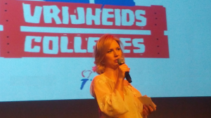 Ancilla van de Leest, lijsttrekker Piratenpartij tijdens de Vrijheidscolleges